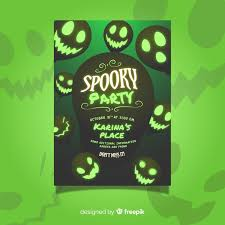 Green Party Flyer Green Halloween Spooky Party Flyer Template Vector Free