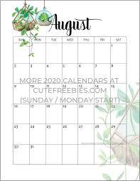 August Theme Calendar 2019 2020 Calendar Free Printable Plants Theme Free