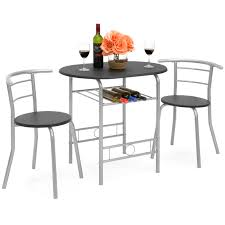 best choice products 3 piece wooden kitchen dining room round table and chairs set w built in wine rack black com