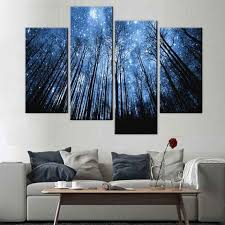 >panel art multi panel wall art on canvas bigwallprints  blue forest with starry sky