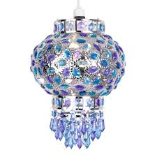 moroccan style lighting fixtures. Traditional Moroccan Bazaar Style Chrome Plated Chandelier Ceiling Light Pendant Shade With Beautiful Blue And Purple Coloured Acrylic Jewel Droplets: Lighting Fixtures