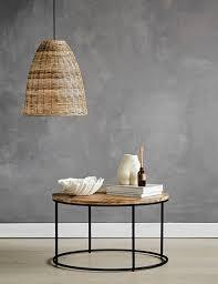 mango wood and iron round coffee table