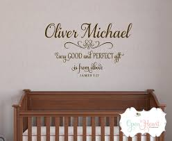 zoom on personalized name wall art for nursery with every good and perfect gift is from above wall decal with