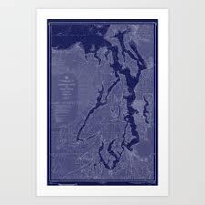 Puget Sound Washington State Nautical Chart Map Print 1956 Dark Blue Map Art Prints Art Print By Chartedwaters
