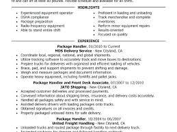 Package Handler Resume Sample Download Material Handler Resume Ups