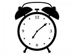 目覚まし時計の白黒シルエットイラスト イラスト無料かわいい