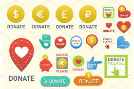 Donate Buttons Vector Set Illustration Help Icon Donation Gift