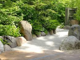 ... Large Size Japanese Rock Garden Front Yard Landscaping Design Using  Wooden Gate And Stone Edging Plus ...