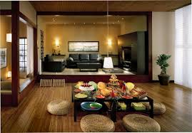 Decorations:Beauty Japanese Interior Decor Dining Room With Textured Wood  Floor And Brown Textured Wood