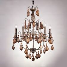 rustic 6 light antique crystal chandeliers for wrought iron