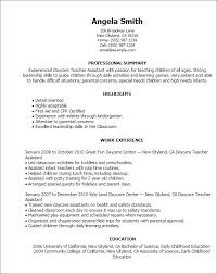 child care teacher resume sample
