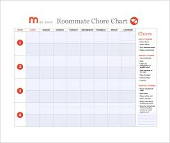 Free Monthly Chore Chart Template 16 Sample Chore Chart Templates In Docs Word Pdf