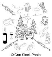 dishwasher clipart black and white. summer barbecue backyard party doodle set dishwasher clipart black and white