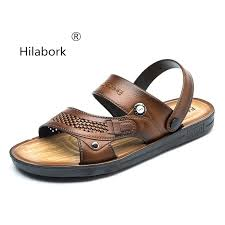 hilabork 2019 summer casual leather new men s beach sandals open toe breathable non slip dual use leather sandals men s shoes