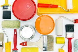 various painting tools and accessories for home renovation on white background stock photo 39893886