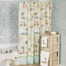sthing retro beach themed shower curtain cloth curtains hooks ch full size