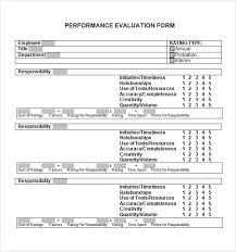 Job Performance Evaluation Form Templates Adorable 48 Sample Performance Evaluation Forms Sample Templates