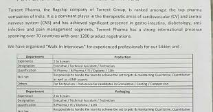pharma vacancy walk in for torrent on th dec
