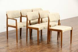 sold set midcentury danish modern teak dining chairs signed mid century armchair bramin seat support for