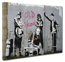 Banksy Print Old Skool Picture Canvas Wall Art Size 51x76cm