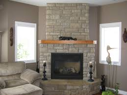 Decorations:Modern Mod Century Corner Brick Fireplace Mantels Design  Combine Grey Fabric Glidder Chair Also