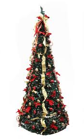 6u0027 PreLit Pop Up Decorated RedGold And Plaid Artificial Red Artificial Christmas Trees