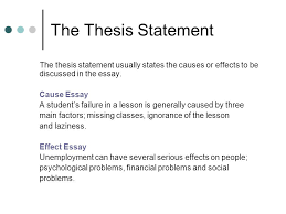 cause effect essays questions why did mary change jobs how  the thesis statement the thesis statement usually states the causes or effects to be discussed in