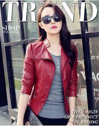 2016 new fashion red black jacket er motorcycle leather jackets women 2 color brand jacket jaqueta