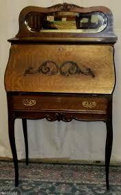antique larkin oak las secretary writing desk cabinet applied carving mirror