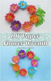 Make Easy Paper Flower Easy Paper Flower Wreath With Free Printable Template Diy