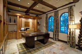deco office. Craftsman Home Office With Arched Window, Unique Symmetrical Art Deco Desk French Style, Exposed A