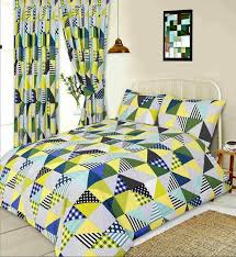 double bed duvet cover set geometric