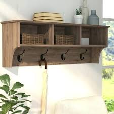 wood coat rack wall mounted white with shelf laurel foundry modern farmhouse drifted gray regarding hooks
