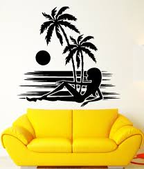 palm tree wall stickers: wall stickers vinyl decal silhouette sexy girl beach sunset palms treechina mainland