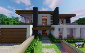 This modern mansion features a pool and a helipad. Modern House Ayera 1 14 Minecraft Map