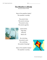 Comprehension Worksheet - Weather is Windy