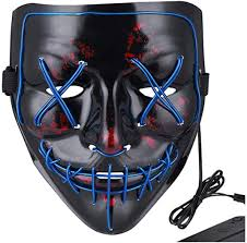 Led Light Up Mask Amazon Led Halloween Purge Mask Scary Cosplay Light Up Mask For Festival Parties Bule