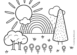 Small Picture Nature Coloring Page For Kids With Rainbow Printable Free Coloring