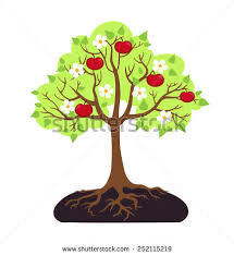 apple tree with roots clipart. cartoon apple tree - vector illustration. with roots clipart f