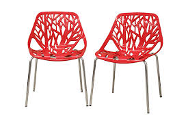 E Amazoncom  Baxton Studio Birch Sapling Plastic Modern Dining Chair Red  Set Of 2 Chairs