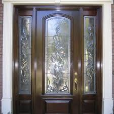 a traditional estate door with custom leaded glass