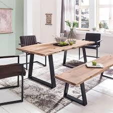 Esstisch Massivholz Mit Design Metallbeine Kaufen Fintabode