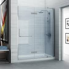 ove decors shelby 58 25 in to 58 75 in frameless polished chrome hinged shower door