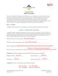 Activity 151 8 Mole Conversions