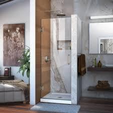 dreamline unidoor 24 in x 72 in frameless hinged shower door in brushed nickel
