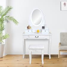 Details about White Bedroom Vanity Set Jewelry Makeup Dressing Table Stool w/ 3 Drawers