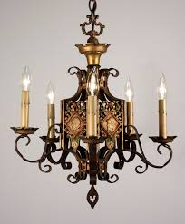 sold unusual antique polychrome figural spanish revival chandelier with solr