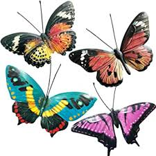 Butterflies created from glass or metal can be hung inside or out (depending on the piece) to capture a little bit of summer for you no matter where you are. 3d Butterflies Wall Sculpture Hanging For Indoor And Outdoor Eoorau Metal Butterfly Wall Decor 3 Pack Home Kitchen Sculptures