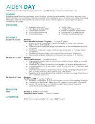 Marketing Resumes Resume Cv Template Examples