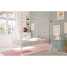 DHP Canopy Bed with Sturdy Bed Frame, Metal, Twin Size - White * For ...